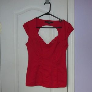 GUESS red cutout blouse